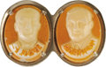 """Political:Pinback Buttons (1896-present), Al Smith: Most Unusual Smith & Robinson """"Cameo"""" Jugate. Oval """"cameos,"""" probably made of glass, are set side by side in a nic..."""