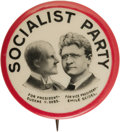 "Political:Pinback Buttons (1896-present), Eugene V. Debs: Rare Large 1¼"" Jugate Design Showing the Candidatewith His 1912 Running Mate Emil Seidel This variety comes..."