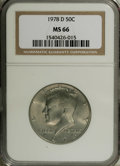 Kennedy Half Dollars: , 1978-D 50C MS66 NGC. NGC Census: (27/8). PCGS Population (94/27).Mintage: 13,765,799. Numismedia Wsl. Price: $27. (#6734)...