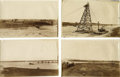 """Photography:Official Photos, Early Oil Derrick Photo Group. Series of eight sepia photographicprints, 5"""" x 7.5"""", showing an oil drilling operation at th..."""