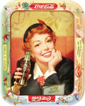 "Advertising:Soda Items, 1953-1960 Coca-Cola Menu Girl Tray, 10.5"" x 13.25"". A fresh-facedand stylish damsel shines on this popular tray from the Ei..."
