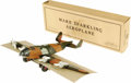 """Antiques:Toys, Marx Sparkling Aeroplane Wind-up Toy in Original Box. .Never assembled, tin litho, 18"""" wingspan x 13.5"""" long, Marx ..."""