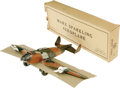 "Antiques:Toys, Marx Sparkling Aeroplane Wind-up Toy in Original Box. .Never assembled, tin litho, 18"" wingspan x 13.5"" long, Marx ..."
