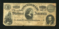 Confederate Notes:1864 Issues, T65 $100 1864. This lighter tint variety has a partial Confederate Treasury Seal in the upper right-hand corner. Fine....