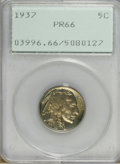 Proof Buffalo Nickels: , 1937 5C PR66 PCGS. Moderately reflective beneath honey-gold patina.The devices are reasonably defined and the surfaces are...