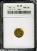 Commemorative Gold: , 1905 G$1 Lewis and Clark MS61 ANACS. This semi-prooflike pieceretains its full original luster, but wispy handling marks i...