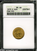 Commemorative Gold: , 1915-S $2 1/2 Panama-Pacific Quarter Eagle MS60 ANACS. Well struckwith even orange-gold coloration, muted luster, and a co...