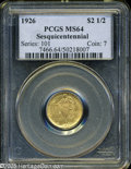Commemorative Gold: , 1926 $2 1/2 Sesquicentennial MS64 PCGS. Both sides are awash inpleasing lustrous yellow-gold patina, and exhibit well stru...