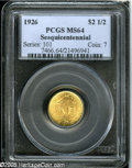 "Commemorative Gold: , 1926 $2 1/2 Sesquicentennial MS64 PCGS. While ""only"" grading MS64,this Sesqui has thick mint luster that is strongly sugge..."