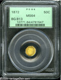 California Fractional Gold: , 1872 50C Liberty Octagonal 50 Cents, BG-913, R.4, MS64 PCGS. Brightlemon-gold color and prominently mirrored fields announ...
