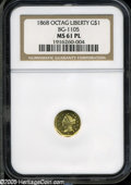California Fractional Gold: , 1868 $1 Liberty Octagonal 1 Dollar, BG-1105, High R.4, MS61Prooflike NGC. This crisply struck canary-gold piece has flashy...