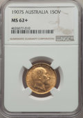Australia, Australia: Edward VII gold Sovereign 1907-S MS62+ NGC,...