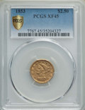 1853 $2 1/2 XF45 PCGS. PCGS Population: (55/1090 and 0/9+). NGC Census: (18/1549 and 0/10+). CDN: $285 Whsle. Bid for NG...