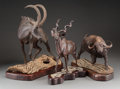 Decorative Arts, Continental:Other , Three Mopho Gondi African Carved Wood Antelopes and Water BuffaloFigures on Stands, Zimbabwe, 20th century. Marks: M. Gon...(Total: 3 Items)