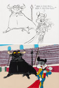 "Animation Art:Production Drawing, Chuck Jones ""Bugs Bunny and Bull"" Original Drawing and 1 of 1 Cel(Warner Brothers, 1984)...."