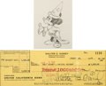 Animation Art:Production Drawing, Fantasia Mickey Mouse as The Sorcerer's Apprentice AnimationDrawing with Walt Disney-Signed Check (Walt Disney, 1940)...