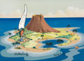 Animation Art:Painted cel background, Woody Woodpecker South Sea Island Production Background withTrimmed Woody Cel (Walter Lantz, c. 1960s/70s)....