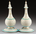 Ceramics & Porcelain, British:Antique  (Pre 1900), A Pair of Grainger Worcester Persian-Style Reticulated Covered Vases on Stands, England, circa 1890. Marks: G & Co. W (w... (Total: 2 Items)