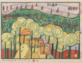 Fine Art - Work on Paper:Print, Friedensreich Hundertwasser (Austrian, 1928-2000). The RainFalls from Us, from Midori No Namida, 1972. Woodcut inc...