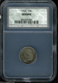"Bust Dimes: , 1835 10C AU50 NCS. The current Coin Dealer Newsletter (Greysheet)wholesale ""bid"" price is $290.00...."