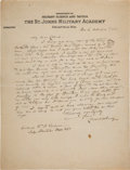 Military & Patriotic:Indian Wars, Gen. Charles King: Fantastic Autograph Letter Signed to Colonel W. A. Graham, December 6, 1925....