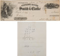 Military & Patriotic:Indian Wars, [Elizabeth Bacon Custer]: An 1859 Bank Draft Written and Signed by Her Father, Judge Daniel B. Bacon. ... (Total: 2 Items)