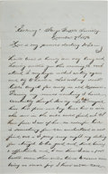 Military & Patriotic:Indian Wars, Thomas McDougall: Letter from Him to His Wife, November 7, 1876. ...