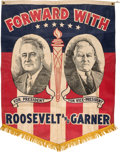 "Political:Textile Display (1896-present), Roosevelt & Garner: Rare and Attractive Jugate Banner in ""FlagFormat""...."
