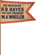 Political:Textile Display (pre-1896), Rutherford B. Hayes: Swallow-Tail Banner....