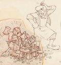 Animation Art:Production Drawing, Pinocchio Geppetto and Donald Duck Preliminary Illustration (Walt Disney, 1940)....