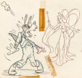 Animation Art:Production Drawing, Pinocchio Goofy and the Blue Fairy Preliminary Illustration(Walt Disney, 1940). ...