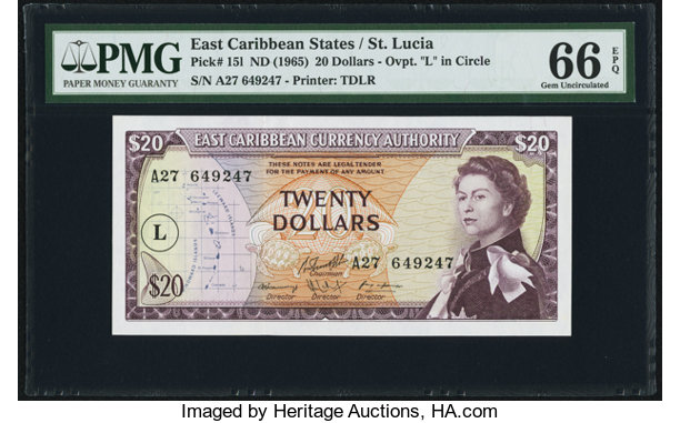 World Currency East Caribbean States Authority St Lucia 20 Nd 1965
