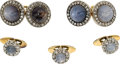 Estate Jewelry:Cufflinks, Victorian Star Sapphire, Diamond, Silver-Topped Gold Dress Set,circa 1890. ... (Total: 4 Items)