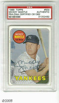 Autographs:Sports Cards, 1969 Topps Mickey Mantle #500, Signed. VG card is signed in decent ink and slabbed by PSA. LOA from Steve Grad & Zach Rul...