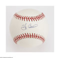 Autographs:Baseballs, Yogi Berra Single Signed Baseball. Pristine OAL (Brown) ball offers a 10/10 blue ink sweet spot signature from this legenda...