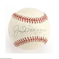 Autographs:Baseballs, Joe DiMaggio Single Signed Baseball. A strong blue ink sweet spot signature on a mildly toned OAL (Brown) ball. A nice bal...