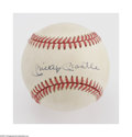 Autographs:Baseballs, Mickey Mantle Single Signed Baseball. OAL (Brown) ball offers a10/10 blue ink sweet spot signature from the Bronx legend. ...