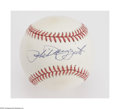 Autographs:Baseballs, Phil Rizzuto Single Signed Baseball. OAL (Brown) ball offers a10/10 blue ink sweet spot signature from the former Yankees ...