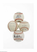 Autographs:Baseballs, Superstars Signed Baseballs Lot of 4. Ink from Cooperstown andbeyond. Present are Lou Brock (on a 3000th hit commemorativ... (4 )