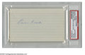 Autographs:Index Cards, Earle Combs Signed Index Card. Combs shared the outfield of Yankee Stadium with Ruth for over a decade, and joins him etern...