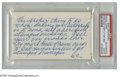 """Autographs:Index Cards, Sam Crawford Signed Index Card. """"Wahoo Sam"""" scolds a youngautograph collector for not following proper etiquette, and sign..."""