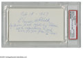 Autographs:Index Cards, Elmer Flick Signed Index Card. One of the Dead Ball era's great sluggers, an elderly Flick writes a rather lengthy little no...