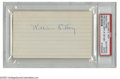 "Autographs:Index Cards, ""Dummy"" Hoy Signed Index Card. This late 19th century star'sdeafness gave birth to the use of hand signals by umpires. Pe..."