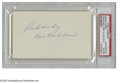 Autographs:Index Cards, Cal Hubbard Signed Index Card. The only man enshrined in bothCooperstown and Canton. Perfect blue ink signature is on the...