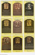 Autographs:Post Cards, Yellow Hall of Fame Plaques Signed Lot of 19. Perfect ink and sharpie signatures from Barlick, Conlan, Cronin, Grimes, Herm...