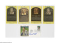Autographs:Post Cards, Baseball Hall of Famers Signed Postcards Lot of 5. Yellow Hall ofFame plaques: Brooks Robinson (2), Bob Lemon and Judy Joh...