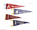 Baseball Collectibles:Others, Boston Braves and Washington Senators Pennants Lot of 4. Pennantsshow typical wear, with one of the Washington programs mi...