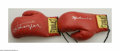 Boxing Collectibles:Autographs, Muhammad Ali & Joe Frazier Signed Boxing Gloves. Pair ofEverlast gloves are signed by these two ring titans in perfectsil...