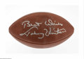 """Football Collectibles:Balls, Johnny Unitas Single Signed Football. The Baltimore Colts Hall of Fame quarterback lends his strong """"Best Wishes, Johnny Un..."""