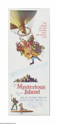 """Mysterious Island (United Artists, 1961). Insert (14"""" X 36""""). Offered here is a vintage, theater-used poster f..."""